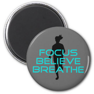 Focus Believe Breathe Aqua 6 Cm Round Magnet