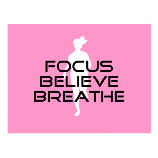 Focus Believe Breathe Pink Female Runner Postcard