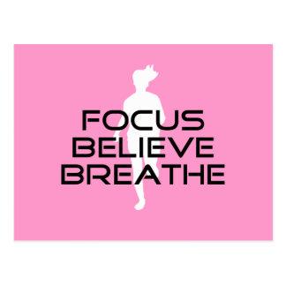 Focus Believe Breathe Pink Female Runner Postcard