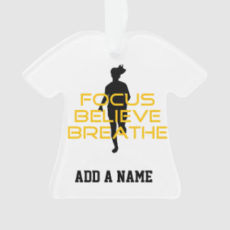 Focus Believe Breathe Yellow Running Fitness Ornament