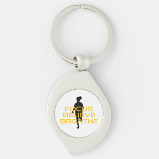 Focus Believe Breathe Yellow Running Fitness Silver-Colored Swirl Key Ring