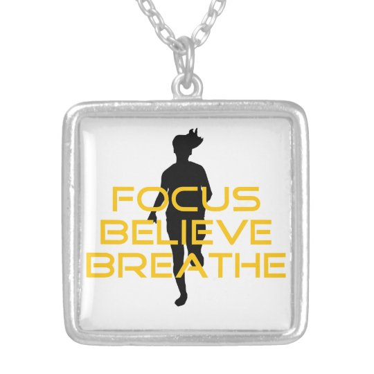 Focus Believe Breathe Yellow Running Fitness Silver Plated