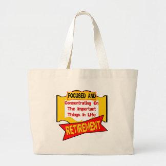 Focused On Retirement Large Tote Bag