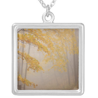 Fog and Autumn foliage, Great Smoky Mountains Silver Plated Necklace