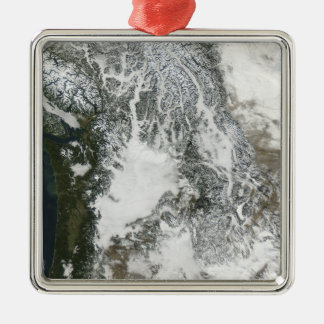 Fog and snow in the Pacific Northwest (true col Christmas Ornament