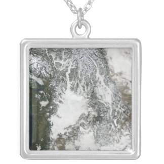 Fog and snow in the Pacific Northwest (true col Silver Plated Necklace