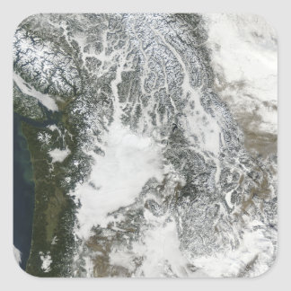 Fog and snow in the Pacific Northwest (true col Square Stickers