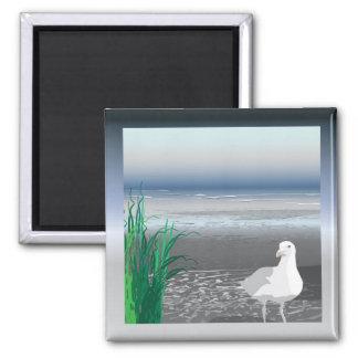 Fog Bank Seagull Square Magnet