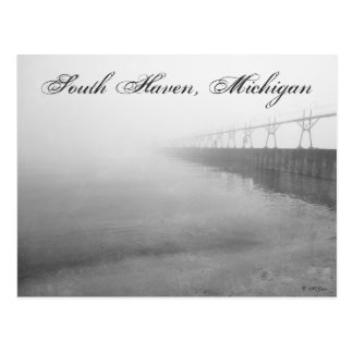 Fog Covered Pier South Haven Michigan Lighthouse Postcard