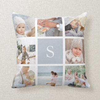 Fog Gray Monogram Photo Collage Cushion