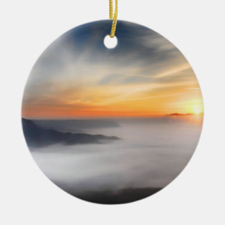 Fog over the mountains of japan during sunrise round ceramic decoration