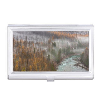 Fog Rolls In On Autumn Larch Trees Business Card Holder