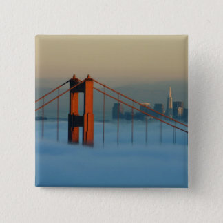 Fog rolls through the San Francisco bay 15 Cm Square Badge