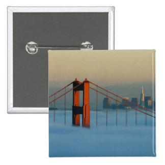 Fog rolls through the San Francisco bay 15 Cm Square Badge