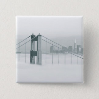 Fog rolls through the San Francisco bay 2 15 Cm Square Badge