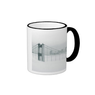 Fog rolls through the San Francisco bay 2 Ringer Mug