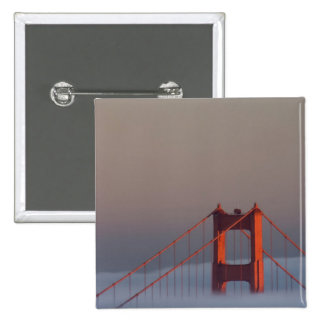 Fog rolls through the San Francisco bay covering 15 Cm Square Badge