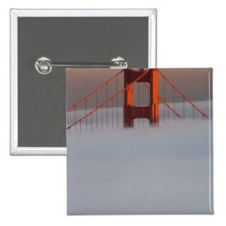 Fog rolls through the San Francisco bay covering 2 15 Cm Square Badge