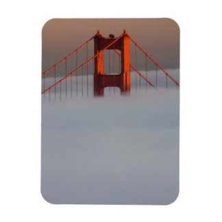 Fog rolls through the San Francisco bay covering 2 Rectangular Photo Magnet