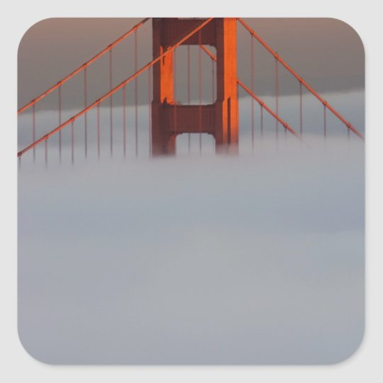Fog rolls through the San Francisco bay covering 2 Square Sticker