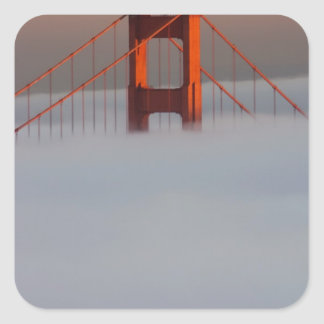 Fog rolls through the San Francisco bay covering 2 Sticker