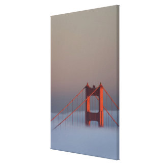 Fog rolls through the San Francisco bay covering Stretched Canvas Print