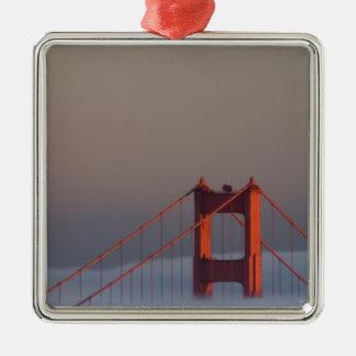 Fog rolls through the San Francisco bay covering Christmas Tree Ornaments