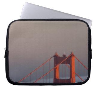 Fog rolls through the San Francisco bay covering Laptop Computer Sleeve
