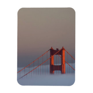 Fog rolls through the San Francisco bay covering Rectangular Photo Magnet