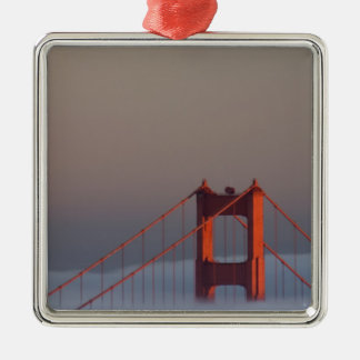 Fog rolls through the San Francisco bay covering Silver-Colored Square Decoration
