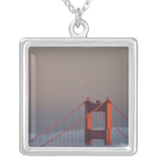 Fog rolls through the San Francisco bay covering Square Pendant Necklace