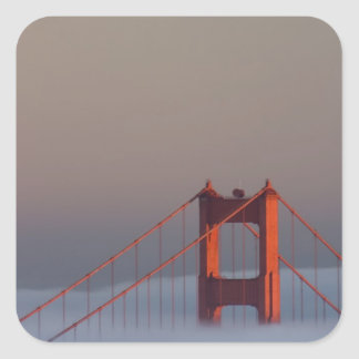Fog rolls through the San Francisco bay covering Square Sticker