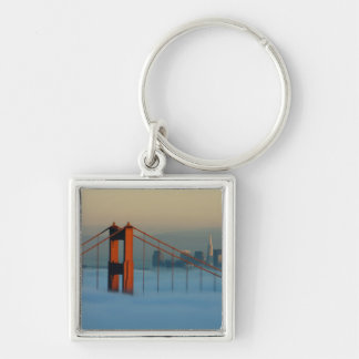 Fog rolls through the San Francisco bay Silver-Colored Square Key Ring