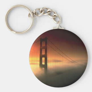 Fog Shrouded Golden Gate Basic Round Button Key Ring