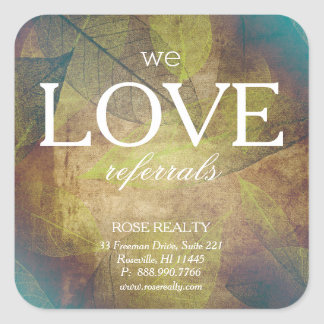 FOG Skeleton Leaf Leaves We Love Referrals realtor Square Sticker