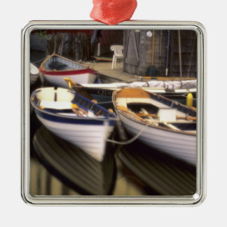 Fog surrounds four boats docked. Silver-Colored square decoration