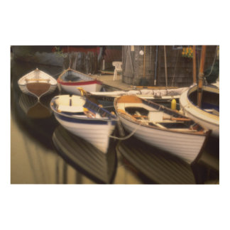 Fog surrounds four boats docked. wood wall art