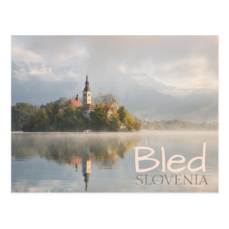 Foggy Bled Lake sunrise double text postcard