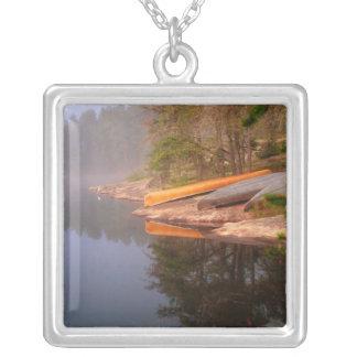 Foggy Canoe Campsite, Lake Kawnipi, Silver Plated Necklace