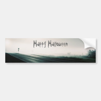 Foggy highway halloween bumper sticker