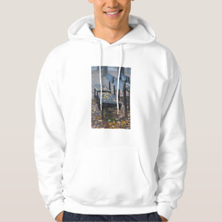 Foggy morning park bench, Germany Hoodie