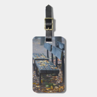 Foggy morning park bench, Germany Luggage Tag