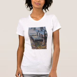Foggy morning park bench, Germany T-Shirt