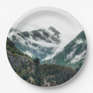 Foggy Mountain Tops Paper Plate