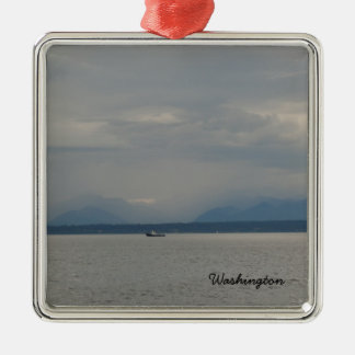 Foggy Puget Sound Day Seattle Washington Boat Silver-Colored Square Decoration
