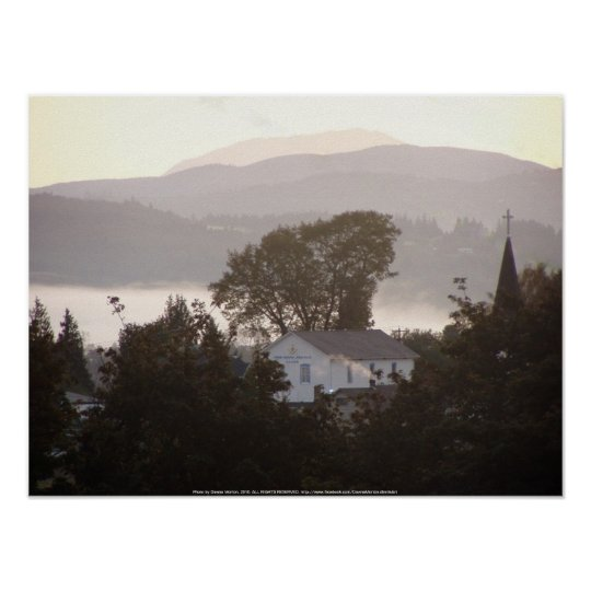 foggy sunrise over the Columbia River 4 Poster
