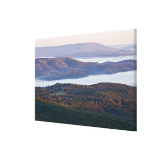 Foggy valleys and fall foliage in Ozark Canvas Print