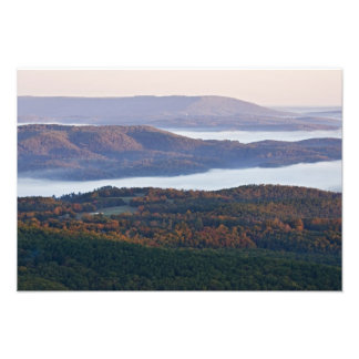 Foggy valleys and fall foliage in Ozark Photo Print