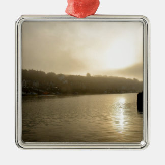 Foggy Whitby morning Silver-Colored Square Decoration