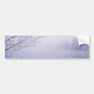 Foggy Winter Day by the River Bumper Sticker